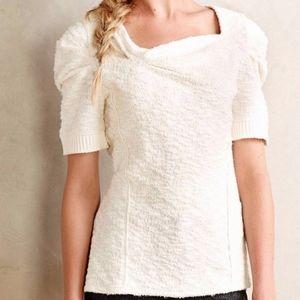 Postmark Anthropologie Cedar Street knit top white